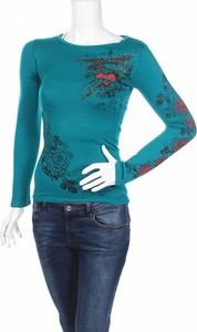 Niebieska bluzka Forever 18 z długim rękawem z okrągłym dekoltem