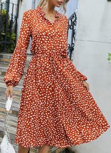 Sukienka Cikelly w stylu casual midi z dekoltem w kształcie litery v
