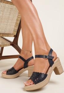 Granatowe sandały Renee z klamrami