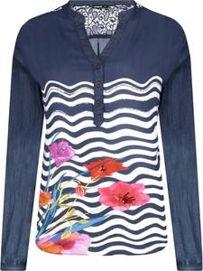 Bluzka Desigual z długim rękawem w stylu casual z dekoltem w kształcie litery v