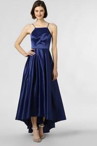 Niebieska sukienka Marie Lund maxi z dekoltem w karo