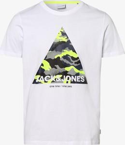 T-shirt Jack & Jones w młodzieżowym stylu z nadrukiem z bawełny