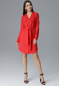 Czerwona sukienka Figl mini z dekoltem w kształcie litery v