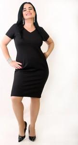 Czarna sukienka Oscar Fashion z dekoltem w kształcie litery v z krótkim rękawem midi