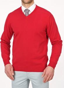 Czerwony sweter Lanieri w stylu casual z bawełny