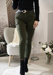 Czarne spodnie Fason w militarnym stylu z bawełny
