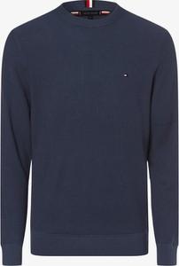 Niebieski sweter Tommy Hilfiger z bawełny z okrągłym dekoltem