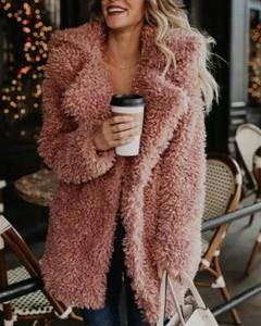 Kendallme Prosty puszysty pluszowy płaszcz z długim rękawem kurtka różowy