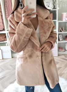 Sandbella Długi rękaw zapinany na guziki jednorzędowy jednolity klapy elegancki miś pluszowy bez wzoru jesień zima płaszcz (S)
