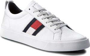 Sneakersy TOMMY HILFIGER - Flag Detail Leather Sneaker FM0FM01712 White 100