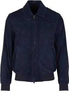 Niebieska kurtka Santa Eulalia w stylu casual z zamszu krótka