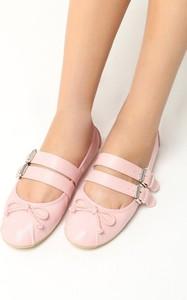 Różowe baleriny Multu w stylu casual ze skóry ekologicznej