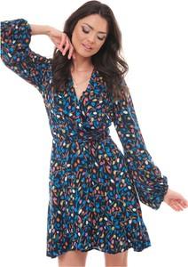 Niebieska sukienka KOSTES z dekoltem w kształcie litery v w stylu casual