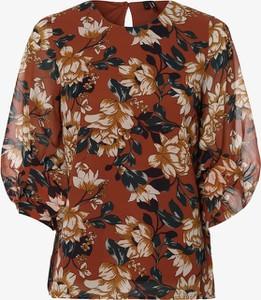 Brązowa bluzka Vero Moda z długim rękawem z okrągłym dekoltem w stylu boho