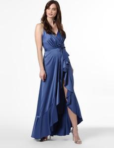 Niebieska sukienka Marie Lund na ramiączkach kopertowa maxi