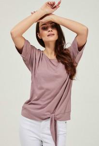 Różowa bluzka Moodo z okrągłym dekoltem z krótkim rękawem