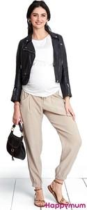 Przewiewne spodnie ciążowe Desert Beż Happymum