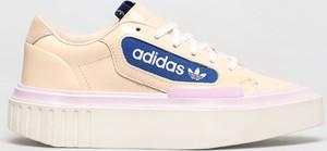 Różowe buty sportowe Adidas Originals na platformie ze skóry sznurowane