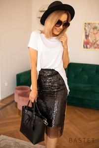 Srebrna spódnica Shoq z tiulu midi w stylu glamour