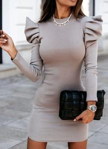 Sukienka Arilook mini z długim rękawem z okrągłym dekoltem