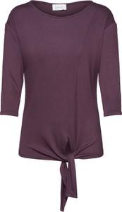 Fioletowa bluzka Cartoon z okrągłym dekoltem w stylu casual z dżerseju