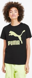 Czarny t-shirt Puma z okrągłym dekoltem z krótkim rękawem w sportowym stylu