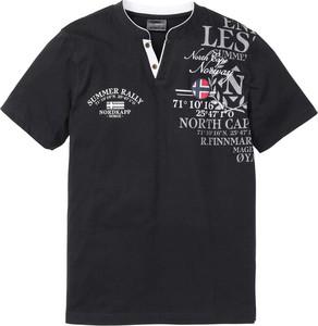 Granatowy t-shirt bonprix bpc selection w młodzieżowym stylu z krótkim rękawem