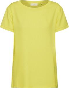 Żółta bluzka Rich & Royal z okrągłym dekoltem z krótkim rękawem