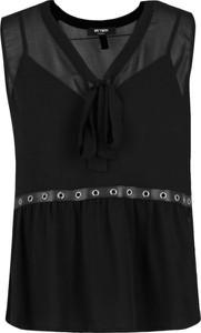 Czarna bluzka Mytwin Twinset ze sznurowanym dekoltem