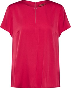 Czerwona bluzka Hugo Boss z okrągłym dekoltem z krótkim rękawem