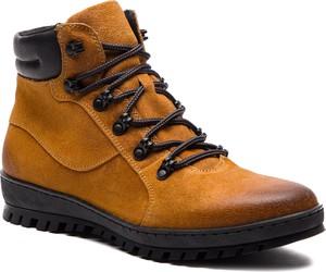 Brązowe buty zimowe Gino Rossi ze skóry w stylu casual