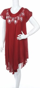 Sukienka Lille asymetryczna z okrągłym dekoltem z krótkim rękawem