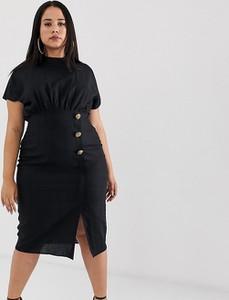 Czarna sukienka Asos z krótkim rękawem midi z lnu