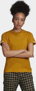 Żółta bluzka Adidas z okrągłym dekoltem z krótkim rękawem z płótna