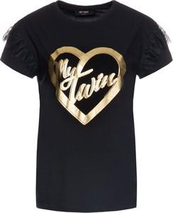 Czarny t-shirt My Twin z krótkim rękawem