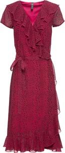 Sukienka bonprix RAINBOW z krótkim rękawem midi z dekoltem w kształcie litery v