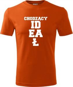 Pomarańczowy t-shirt TopKoszulki.pl w młodzieżowym stylu z bawełny z krótkim rękawem