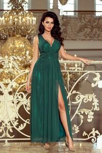Zielona sukienka NUMOCO bez rękawów z dekoltem w kształcie litery v maxi