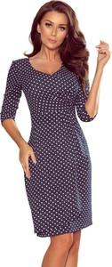 Granatowa sukienka NUMOCO z długim rękawem mini ołówkowa