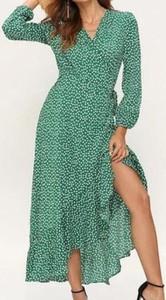 Zielona sukienka Cikelly z długim rękawem maxi z dekoltem w kształcie litery v