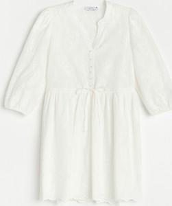 Sukienka Reserved mini z długim rękawem z kołnierzykiem