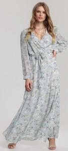 Niebieska sukienka Renee z dekoltem w kształcie litery v w stylu casual z długim rękawem