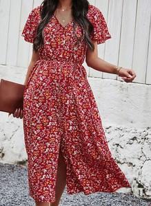 Czerwona sukienka Cikelly z dekoltem w kształcie litery v maxi