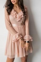 Różowa sukienka Fashion Manufacturer z długim rękawem
