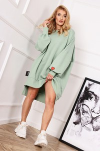 Zielona sukienka Ptakmoda.com z dresówki