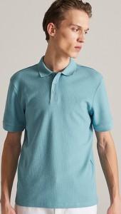 Turkusowa koszulka polo Reserved z krótkim rękawem w stylu casual