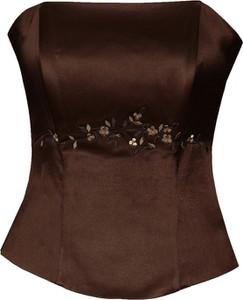 Brązowa bluzka Fokus w stylu glamour