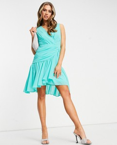 Turkusowa sukienka Tfnc z dekoltem w kształcie litery v bez rękawów