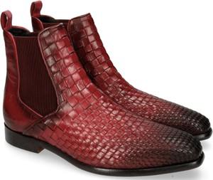 Czerwone buty zimowe Melvin & Hamilton ze skóry