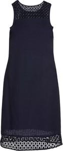 Granatowa sukienka bonprix BODYFLIRT midi bez rękawów